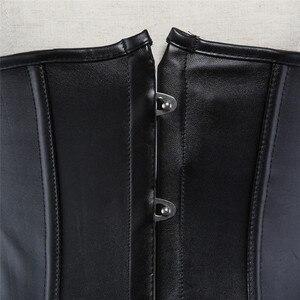 Image 3 - Sapubonva pu unterbrust korsett leder schwarz synthetische gothic punk taille cincher sexy cupless korsett bustier top damen partei