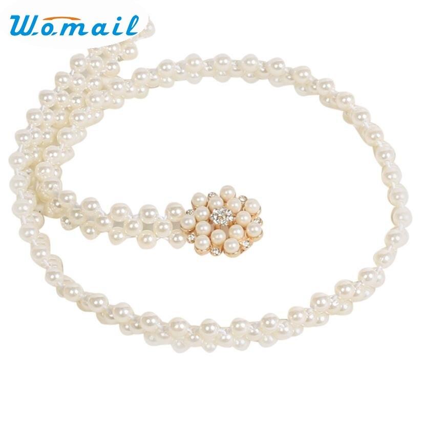 Womail New Fashion Women's Lady Fashion Rhinestone Pearl Belt Body Chain Strap 160616 Drop Shipping