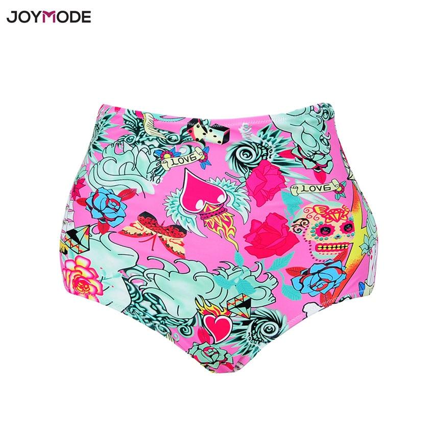 JOYMODE 2018 High Waist Swim Briefs Bikini Bottoms Vintage Women Shorts Beach Briefs Retro Print Floral Swimwear Bikini Panties