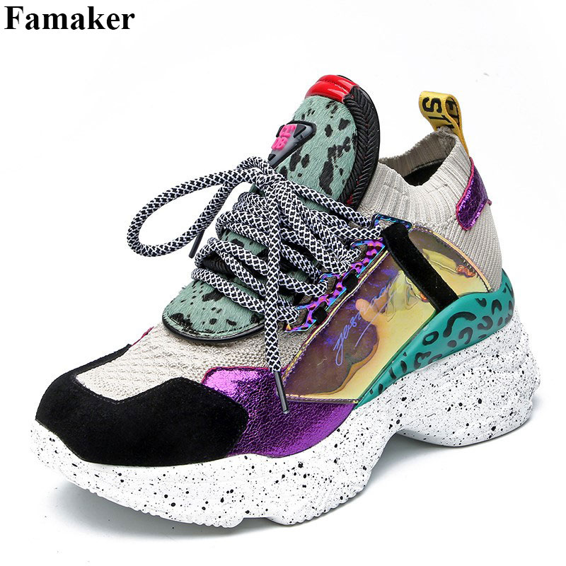 Famaker 2019 New Spring Genuine   Leather     Suede   Platform Sneakers Women Horsehair Dad Shoes Casual Flat Autumn Shoes