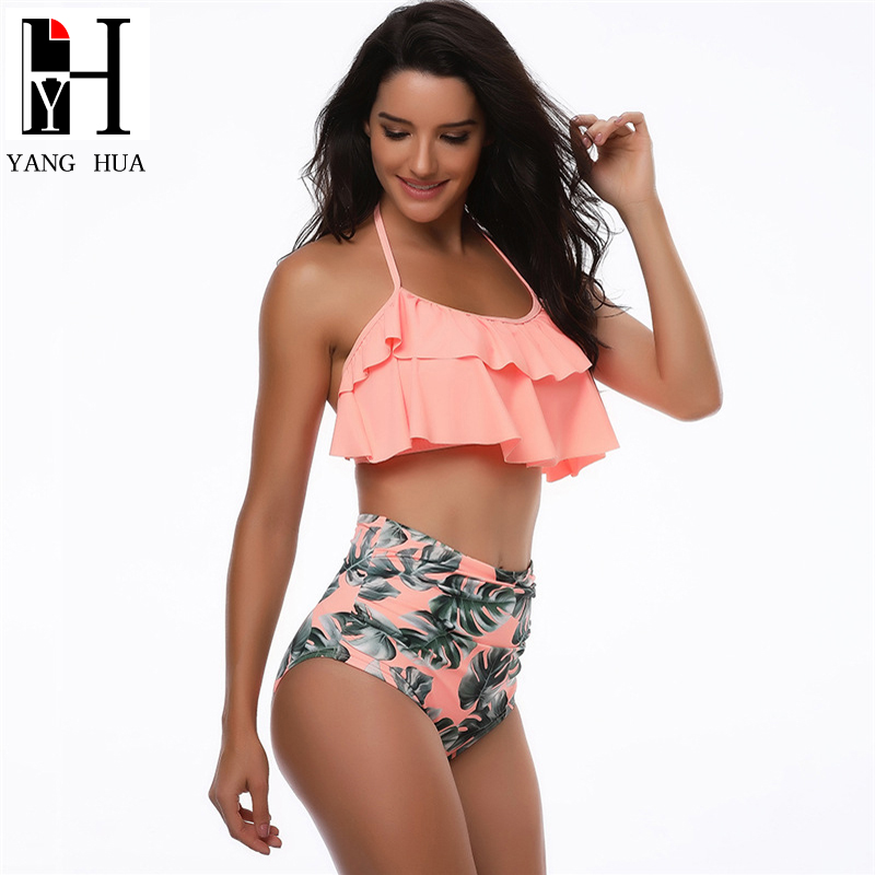 YANG HUA New Bikinis Europe And The United States Sexy High Waist Bikini Set Swimwear Hot Swimsuit Women 2018 europe and the united states women s new winter 2016 worn out show thin butterfly sequins loose nine points straight jeans
