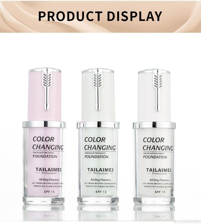 New Arrival Temperature Change Color Liquid Foundation Base Make Up Primer Complexion BB Cream Concealer For