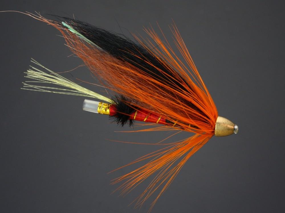 40 pçs tubo mosca moscas laranja salmão