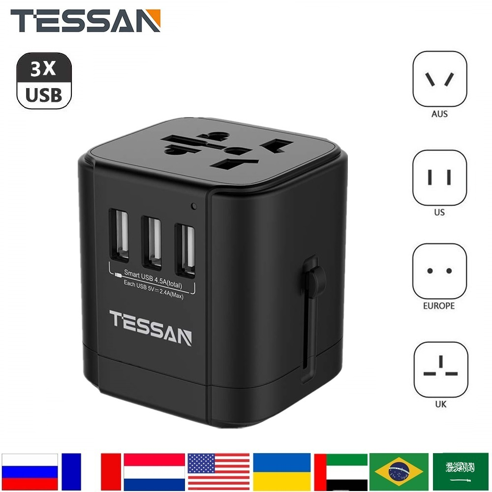 Adaptador de enchufe internacional TESSAN 3USB/4USB/2USB puerto de salida todo en uno adaptador de CA Universal para US/EU/AU/UK Travle adaptador de enchufe