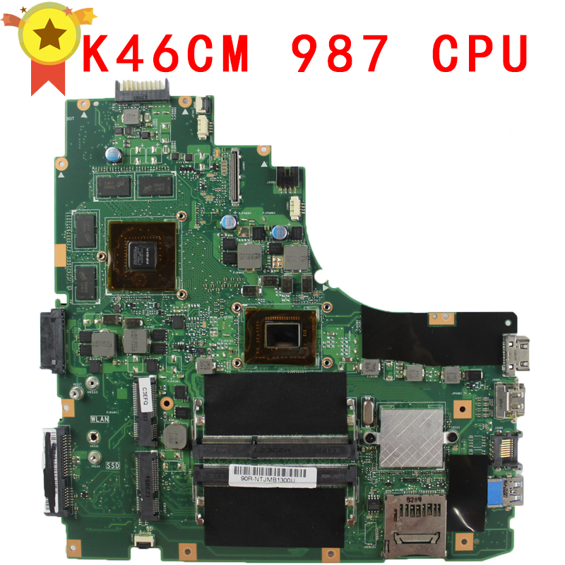 Original for ASUS K46CM REV2.0 With 987 CPU motherboard 60-NTJMB1101-C03 1G HM76 Chipset GT635M 2GB DDR3 work perfect original for asus eeepc 1015e motherboard ulv847 2gb ddr3 laptop rev2 0 main board work perfect free shipping