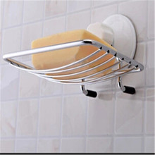 New Stainless steel  Strong Suction Wall Soap Box Bathroom Shower Dish Support Plate Kitchen drain soap dish
