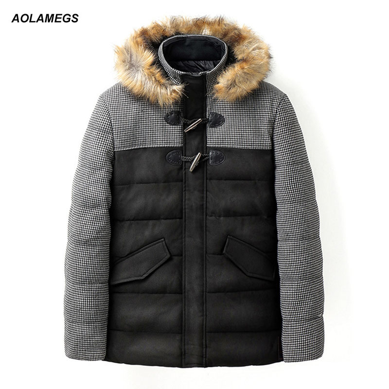 Aolamegs Winter Jacket Men Hooded Fashion Plaid Patchwork Cotton-padded Coats Thick Warm Windproof Parkas Outwear Detachable Hat fashion detachable hooded thick jackets men warm winter jacket parka men 2017 loose mens coats overcoats windproof cotton parkas