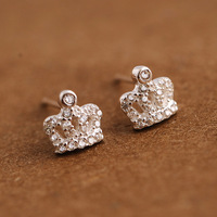 925 Silver Zircon Small Crown Earrings Korean Girls Jewelry Fashion Simple Women Gift