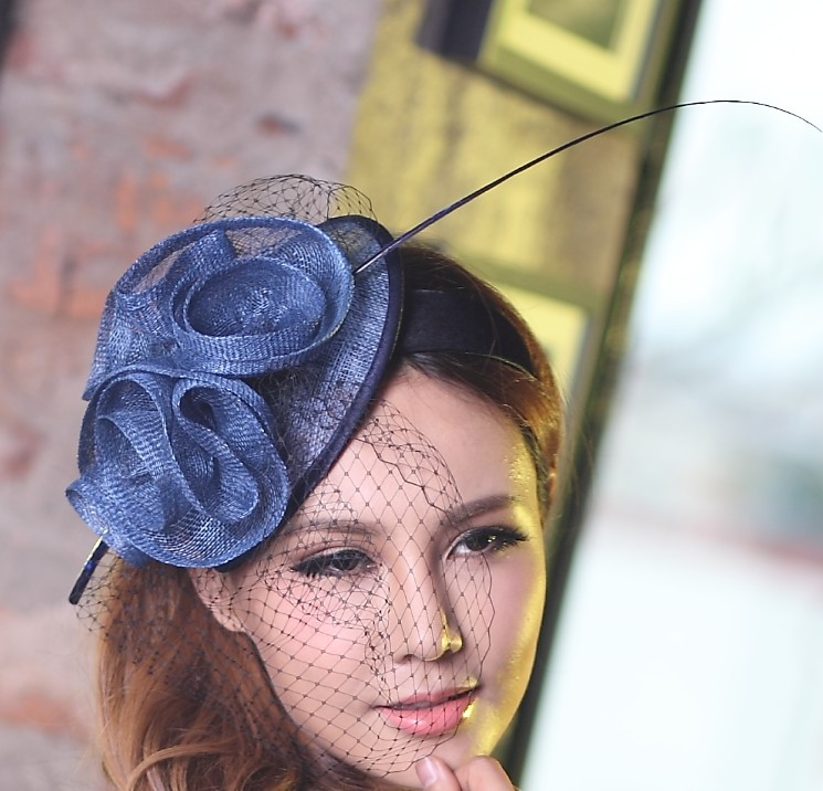 ФОТО vintage Women Hair Floppy Feather Floral Hair Accessories Derby Wedding Headpiece Fascinator Hats Clips Hairband  Blue