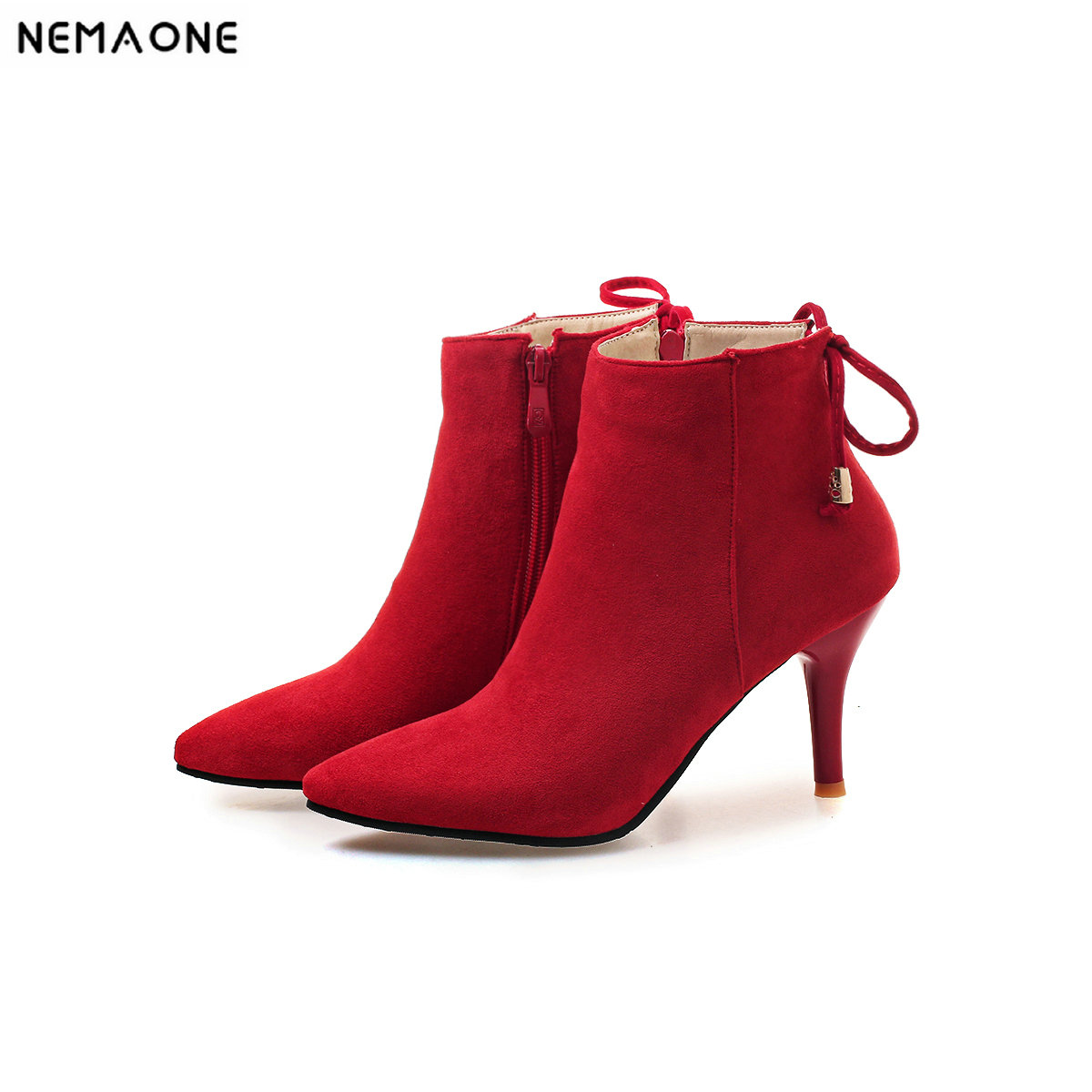 NEMAONE ladies high heels ankle boots sweet wedding party shoes woman black red green women boots large size 42 43 nemaone 8cm high heel knee high women boots ladies shoes party dress wedding shoes woman large size 43 black red blue
