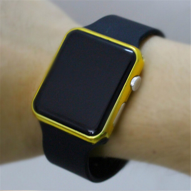 2017 new hot Square Mirror Face Silicone Band Digital Watch Red LED Watches Metal frame WristWatch Sport Clock Hours 4colour