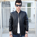 New Men Leather Jacket Fur Stand Collar PU Motorcycle Jaqueta Masculinas  Jacket Men  fashion Casual Parka