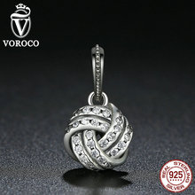 VOROCO 925 Sterling Silver Sparkling Love Knot Weave Bead Charms Fit Pandora Bracelets & Bangles Fashion Jewelry S333