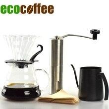 Ecocoffee Neue Ankunft Freeshipping Umweltfreundliche V60 Tropf Sets 580 ml Hitzebeständigen Kaffee Server Wasserkocher Filter Heißer Verkauf