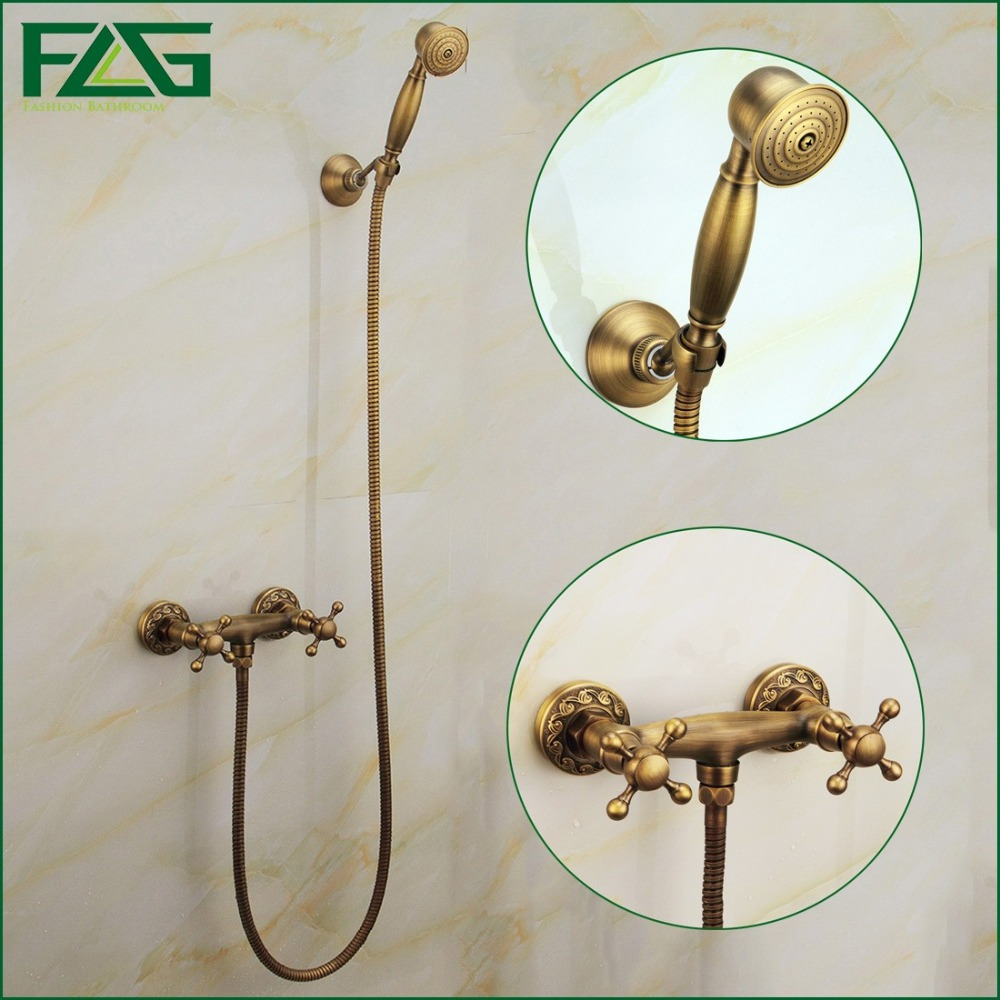 Free Shipping New Luxury Beautiful Hot and cold Device Brass Antique Doul Handles Wall Mounted Faucet Bathroom Mixer Tap HS014 free shipping polished chrome finish new wall mounted waterfall bathroom bathtub handheld shower tap mixer faucet yt 5333