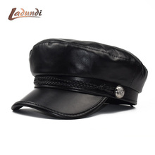 Beret Female Autumn Winter Hats For Women Ladies 100% Pu Leather Beret