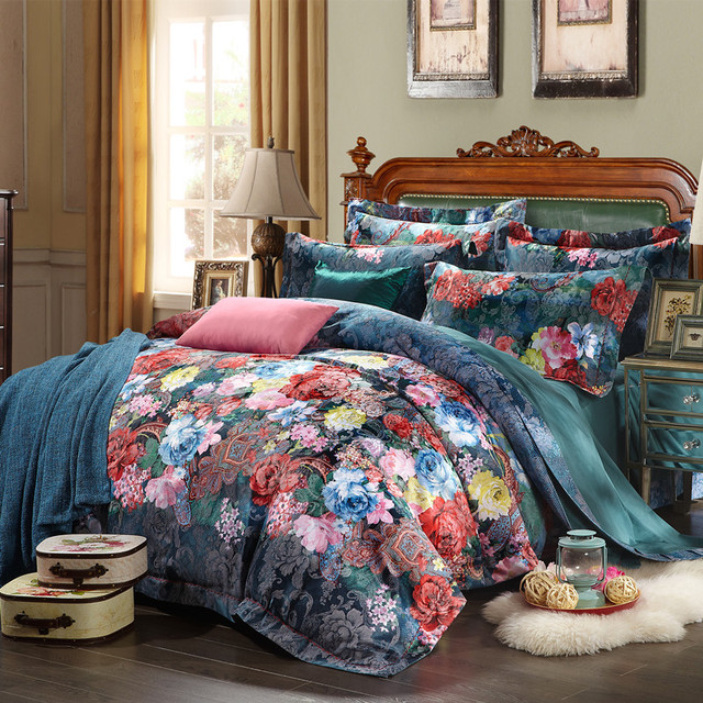 New Hot!Queen King size 4pcs Luxury bed linen bedding set tribute silk cotton satin Jacquard duvet cover Bedclothes bedsheet