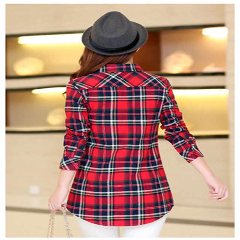 Merek wanita kemeja Kotak-kotak penuh blus katun kemeja panjang perempuan Gadis Penuh lengan slim plaid Shirts wanita Pakaian HS1519