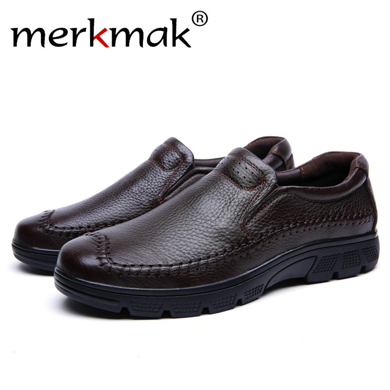 Merkmak Genuine Leather Shoes Men 2016 Fashion Casual Big Size Breathable Ankle Men Flats Shoes Outdoor Walking Zapatos Hombres new fashion men luxury brand casual shoes men non slip breathable genuine leather casual shoes ankle boots zapatos hombre 3s88
