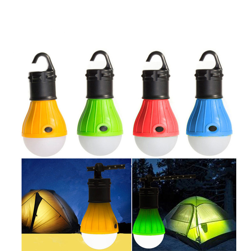 1PC Camping Lights LED Bulb Battery Powered Tent  Light Outdoor Hanging LED Camping Tent Light Bulb Fishing Lantern Lamp 4 Color