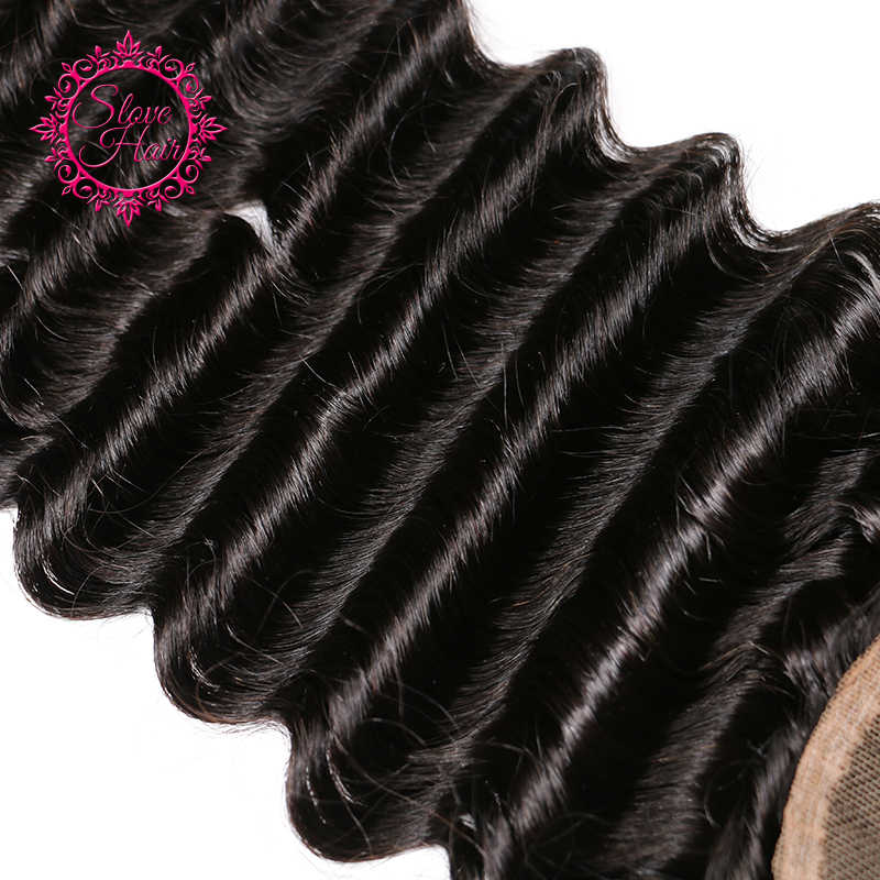 Slove Hair Brazilian Deep Wave Remy Human Hair Lace Closure Free Part With Baby Hair Natural Black Color Bleached Knots