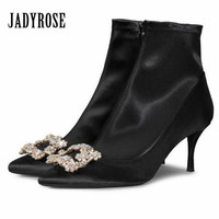 Jady Rose Black Satin Women Ankle Boots Crystal High Heel Autumn Boots Fashion Women Pumps Wedding