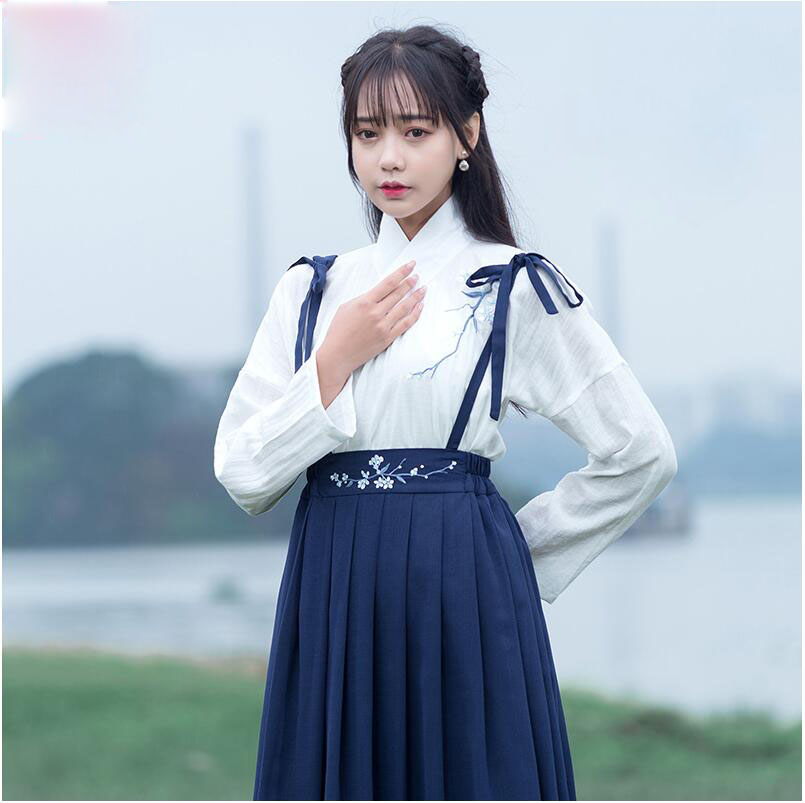 Improved New daily Chinese harnes Hanfu long sleeved Chinese suit adult ceremony student class performance Top + skirt 2 pieces