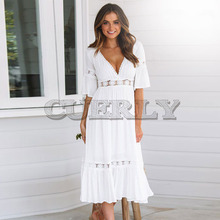 CUERLY New White Lace Up Long Sexy Dress Women Summer V-neck Hollow Out Party Bohemian Dress Casual Feminino Dresses Vestidos L8 цена и фото