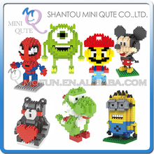 Mini Qute LNO Kawaii despicable me super mario yoshi mouse marvel avenger spiderman plastic building block model educational toy