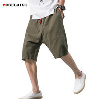 00bb108383 Chinese Style Shorts Men Summer Cotton Linen Casual Elastic Retro Shorts  Knee Length Loose Male Shorts
