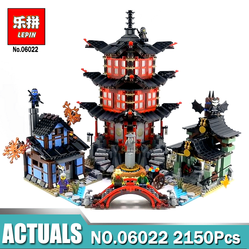 New Lepin 06022 Ninja Temple of Airjitzu Jay Kai Cole 2150Pcs Building Block Compatible legoinglys 70751 Bricks Toys Gifts compatible ninja 70751 lepin 06022 2150pcs blocks ninja figure temple of airjitzu toys for children building bricks 70603 gifts