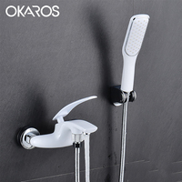 OKAROS Chrome Bathtub Shower Faucet With Head Shower Head Bathroom Shower System Set Single Lever Hot Cold Water Tap Mixer Y007