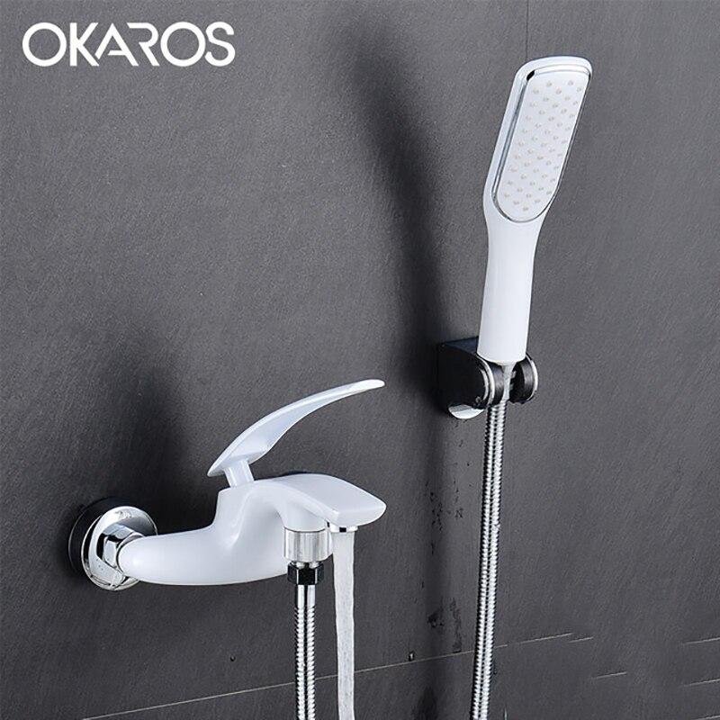 OKAROS Chrome baignoire robinet de douche avec tête de douche salle de bains système de douche ensemble mitigeur robinet d'eau chaude froide Y007
