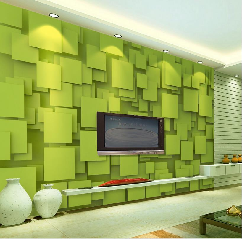 Customized 3d wallpaper mural Green geometric squares 3d