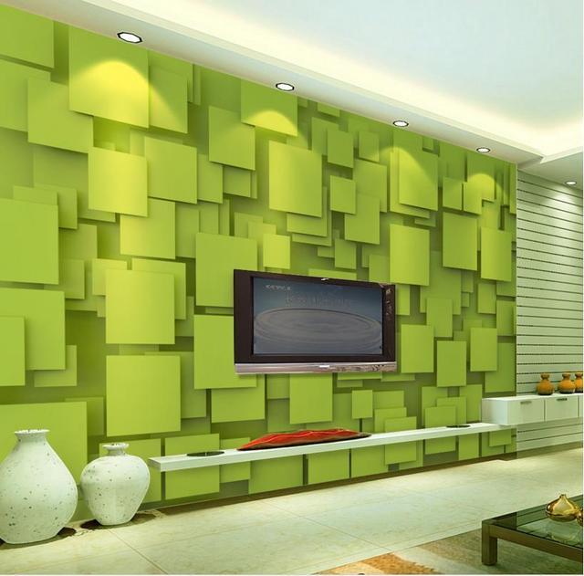 Customized 3d wallpaper mural Green geometric squares 3d