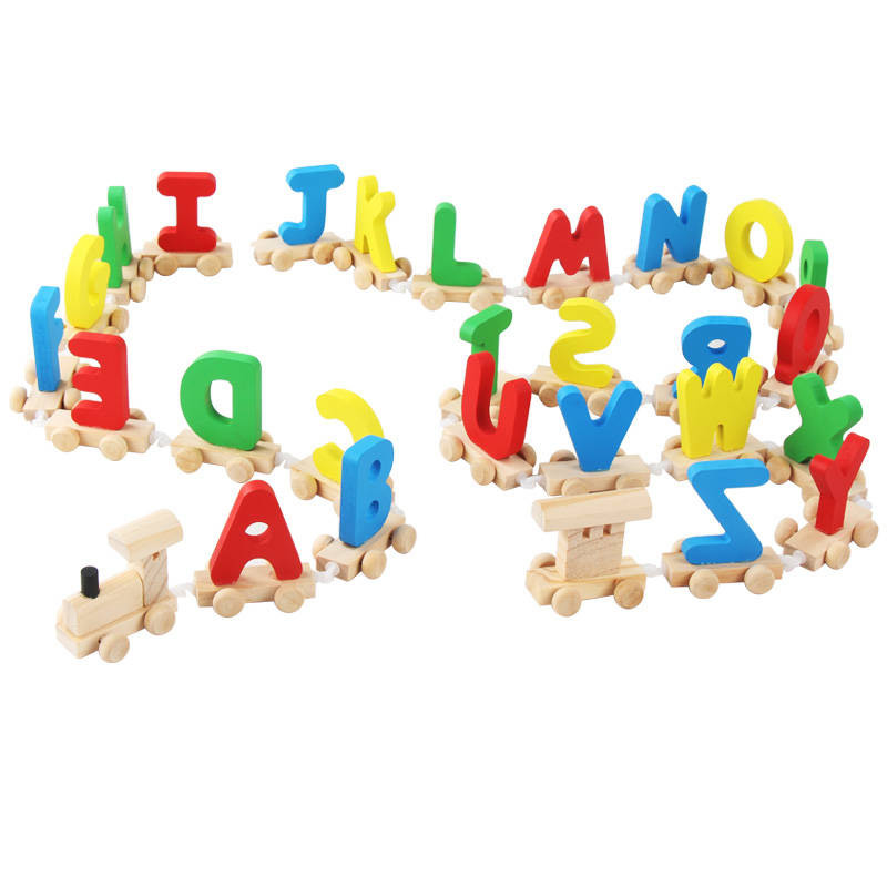 26 English Letters Wooden Train Toys for Baby DIY Colorful Letter Car Toys Baby Early Educational Wooden Toys Gift