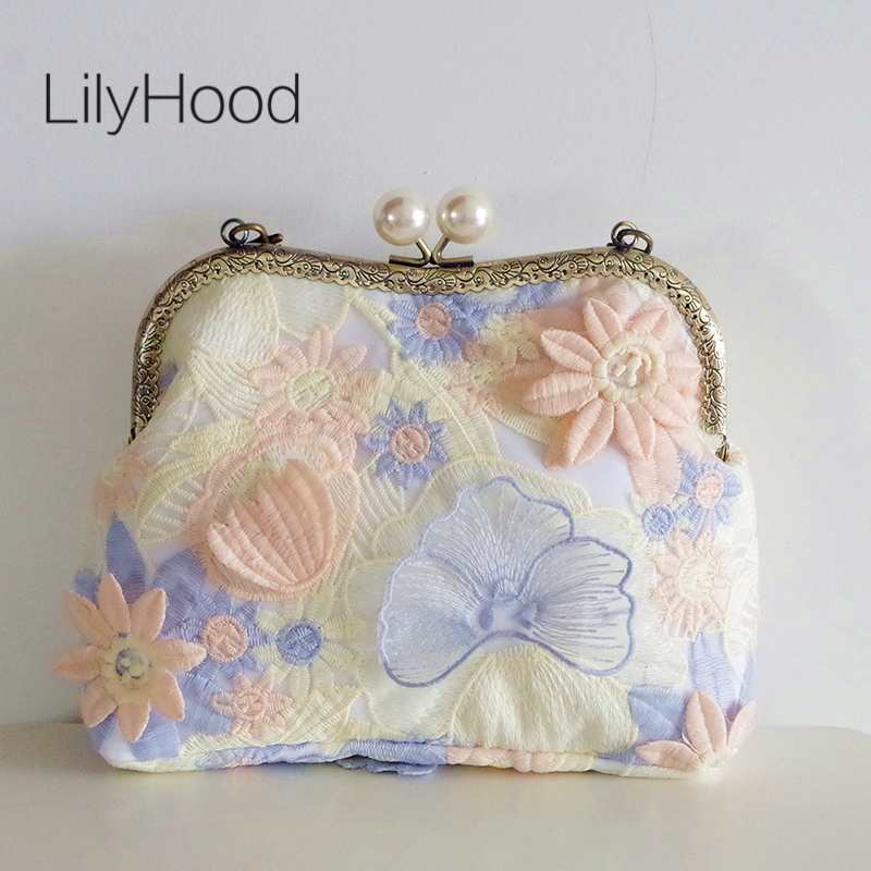 LilyHood Lady Floral Lace Bag Women Wedding Bridal Shabby Chic Feminine Summer Pink Blue Inspired Small Clutch Top-handle Bag chic lace floral plain blouse