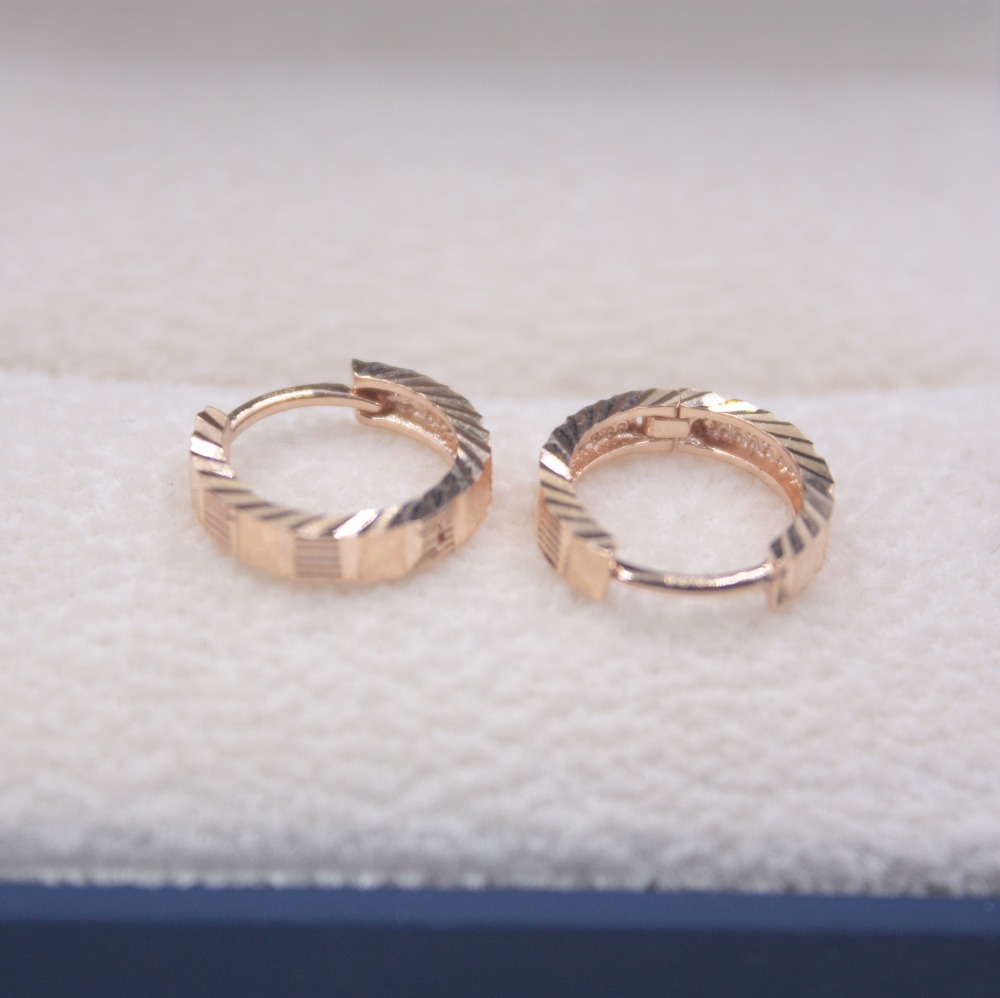 Solide 18 K or Rose boucles d'oreilles ensemble boucles d'oreilles cerceau AU750 femmes cadeau mignon boucles d'oreilles 1.6-1.9g tous les jours bijoux mère meilleur cadeau - 3