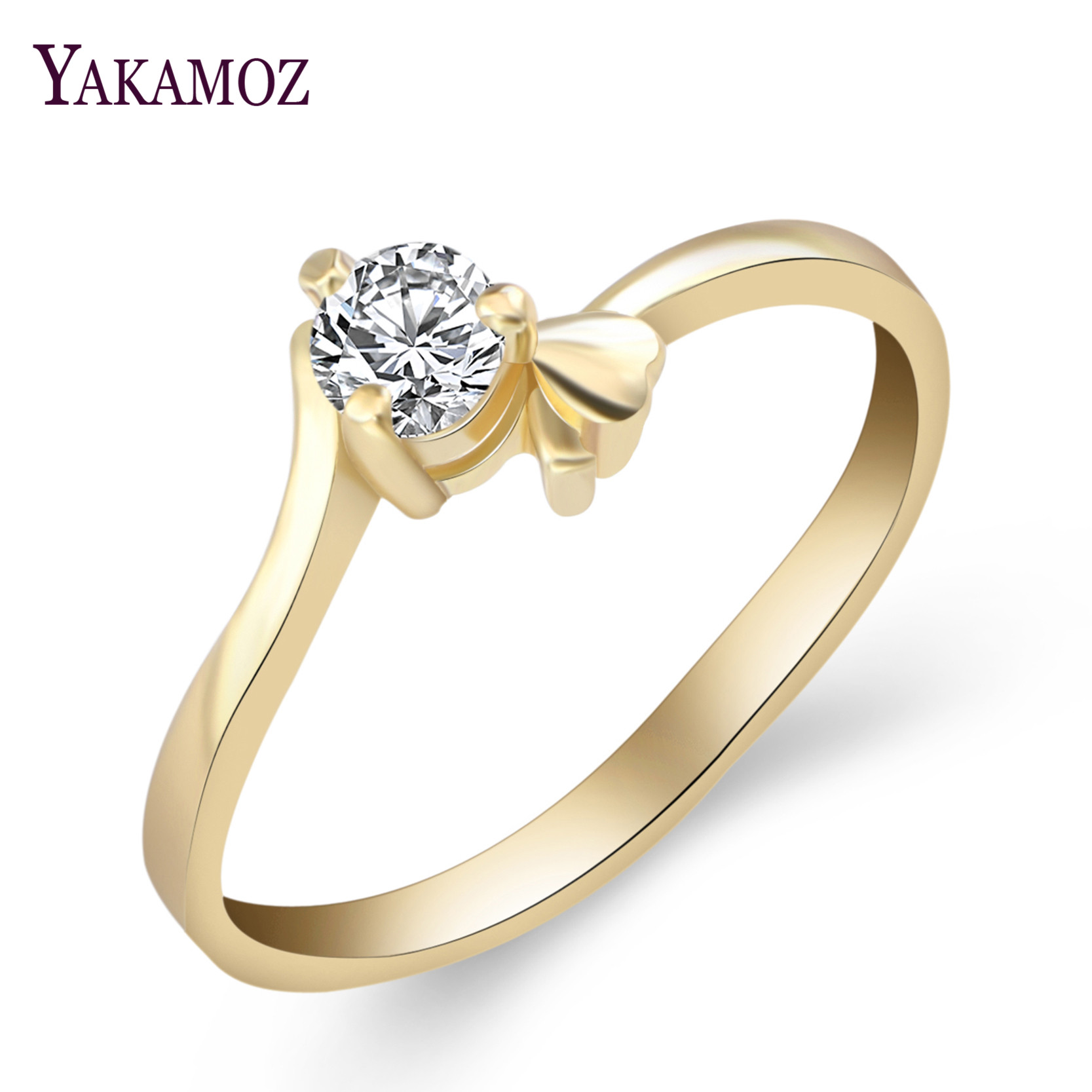 Sale 2018 Wedding Rings for Women Cubic Zirconia White Gold Yellow Gold Luxury Fashion Jewelry