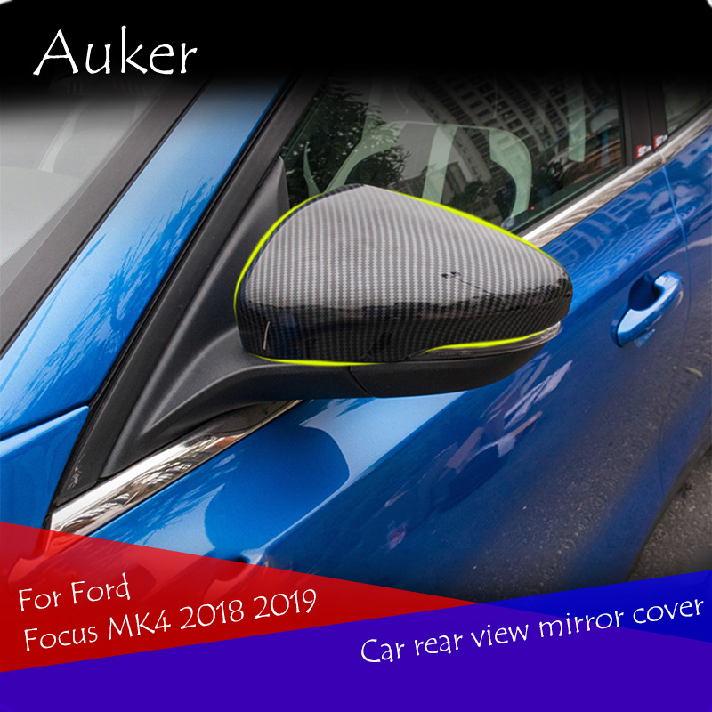 Car Rearview Mirror Cover Finish Chrome Carbon Fiber Protector Auto Accessories 2Pcs/Set For Ford Focus MK4 2018 2019