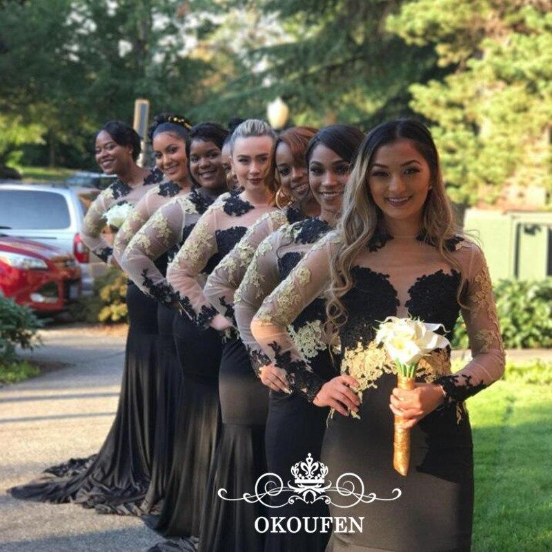 2k17 Sheer Neck Mermaid   Bridesmaid     Dresses   With Long Sleeves Mermaid Women Black Stretchy Spandex Gold Appliques Prom   Dress