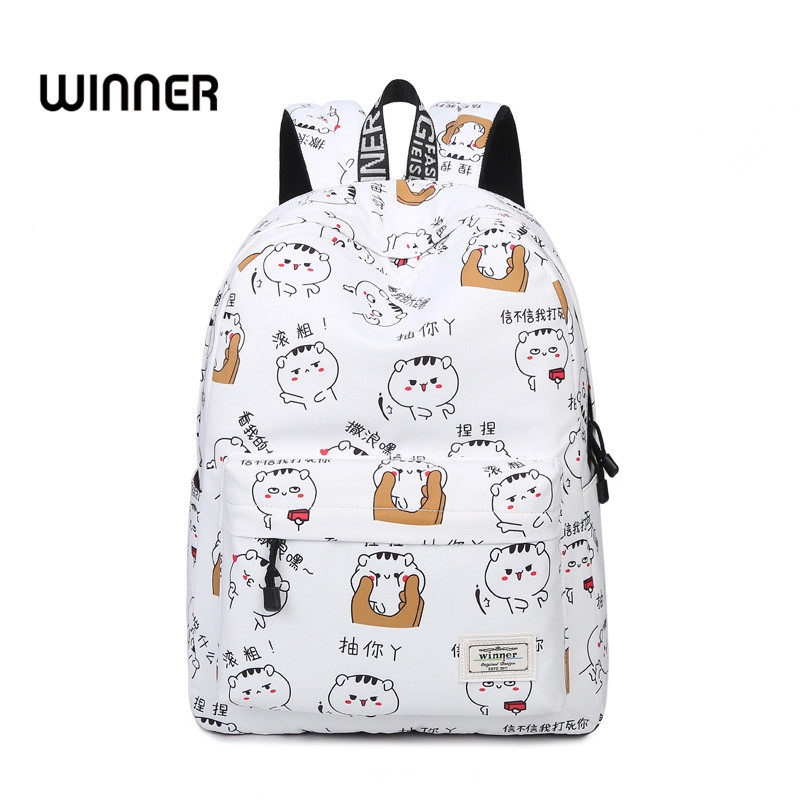 Cute Cartoon Pattern Shoulder Backpacks Waterproof Female Trendy Preppy Style Printing Student Girls College Backpack Bags