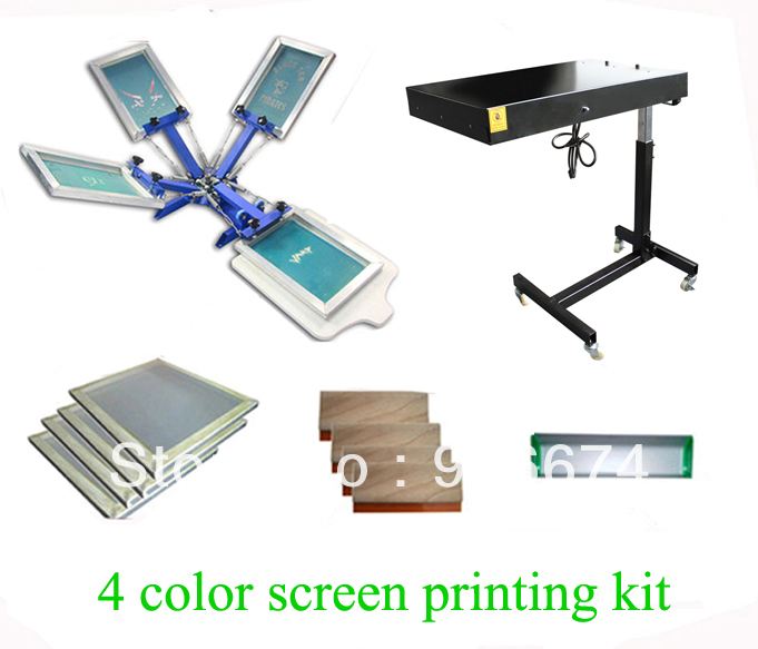 FAST and FREE shipping! 4 color silk screen printing kit flash dryer t-shirt printer stretched frame squeegee flsun 3d printer big pulley kossel 3d printer with one roll filament sd card fast shipping