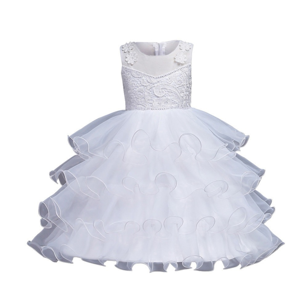 WEIXINBUY Multi-layer Lace Princess Girls Dress White Bow Wedding Party Dress Baby Girls Ball Gown Dress Kids Summer Clothes M2 2016 summer baby clothes kids girls tutu princess dress children girls show white lace party bow dresses for girls wedding