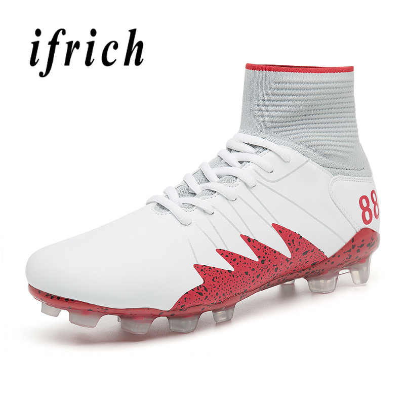 69d2316f9 Outdoor Long Spike Mens White Black Football Sock Boots Male High Top  Soccer Sneakers Mens Comfortable