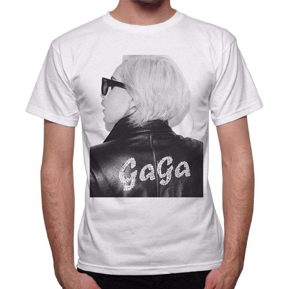 T-Shirt Mens Lady Gaga Name Leather Jacket-White Loose Short Sleeve Summer Fashion Mens T-Shirt