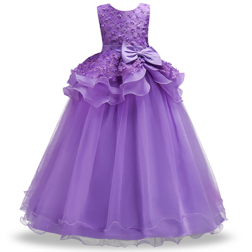 Top Quality Girls Dress Teenager Kids Performance Clothes Flower Girls Layered Long Dress for Prom Party Girls Formal Dress long criss cross open back formal party dress
