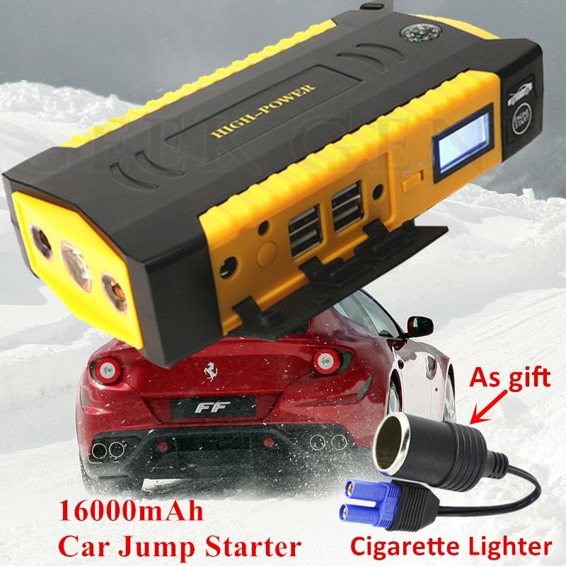 Многофункциональный 16000 мАч пусковое устройство 12 В 600A Портативный автомобиля Зарядное устройство для автомобиля Батарея руля автомобиля ...