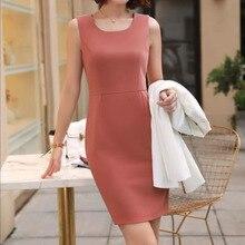 Yuxinfeng Summer Sleeveless Tank Dress Women Plus Size Solid Office Ladies Elegant Formal Pencil Dresses Casual Work Dress 4XL