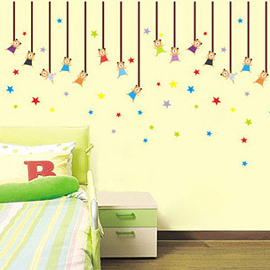 Removable Wall Stickers For Children S Room Nursery Clroom Home Art Decoration Cartoon Bears And Stars Ay727 In From